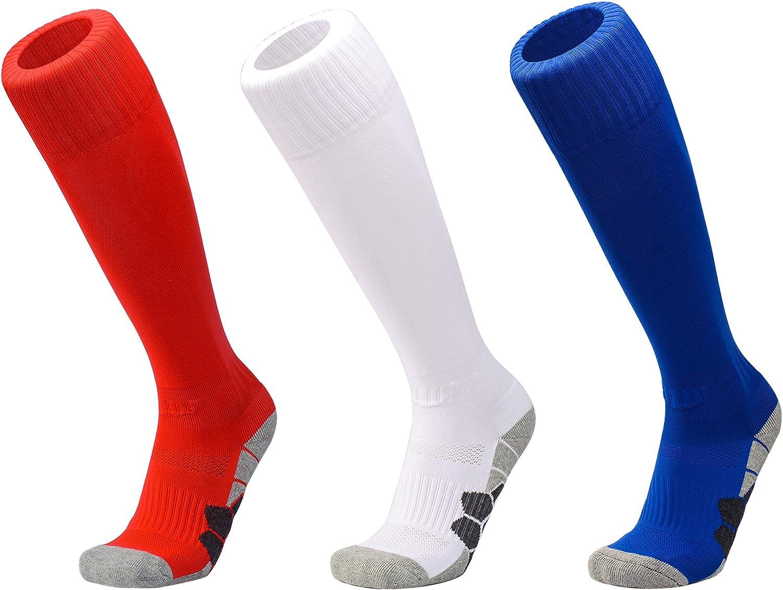 S DEBAIJIA 3 Paare Unisex Fu/ßballsocken Sportsocken Knie Lang Herren//Damen Jungen//M/ädchen Atmungsaktiv Verschlei/ßfest Fu/ßball Str/ümpfe Stutzen Socken Rot//Wei/ß//Blau