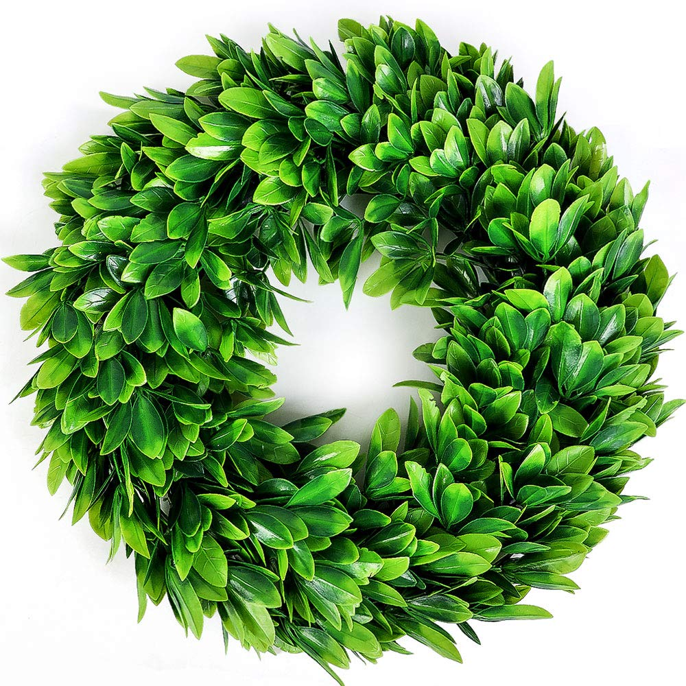Souarts 17'' Eucalyptus-Wreath Artificial Green Leaves Door Wreath Eucalyptus Leaves Wreath Eucalyptus Garland for Home Office Wall Front Door Wedding Decor Large Eucalyptus Wreath Garland by Souarts