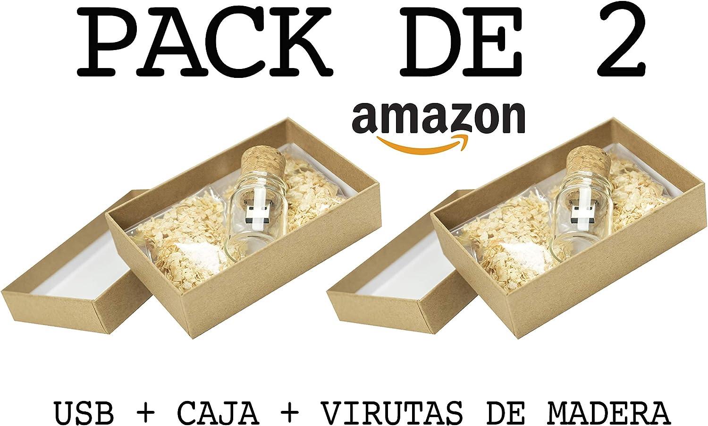 Luglez PACK de 2 USB (8 GB) Para Fotógrafos Botella de cristal con ...