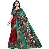 Jaanvi Fashion Women's Art Silk Kalamkari Printed Saree (Red)