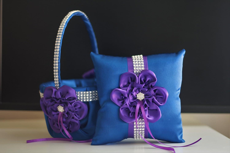 Amazon.com: Royal Blue Purple Ring Bearer Pillow & Wedding Flower ...