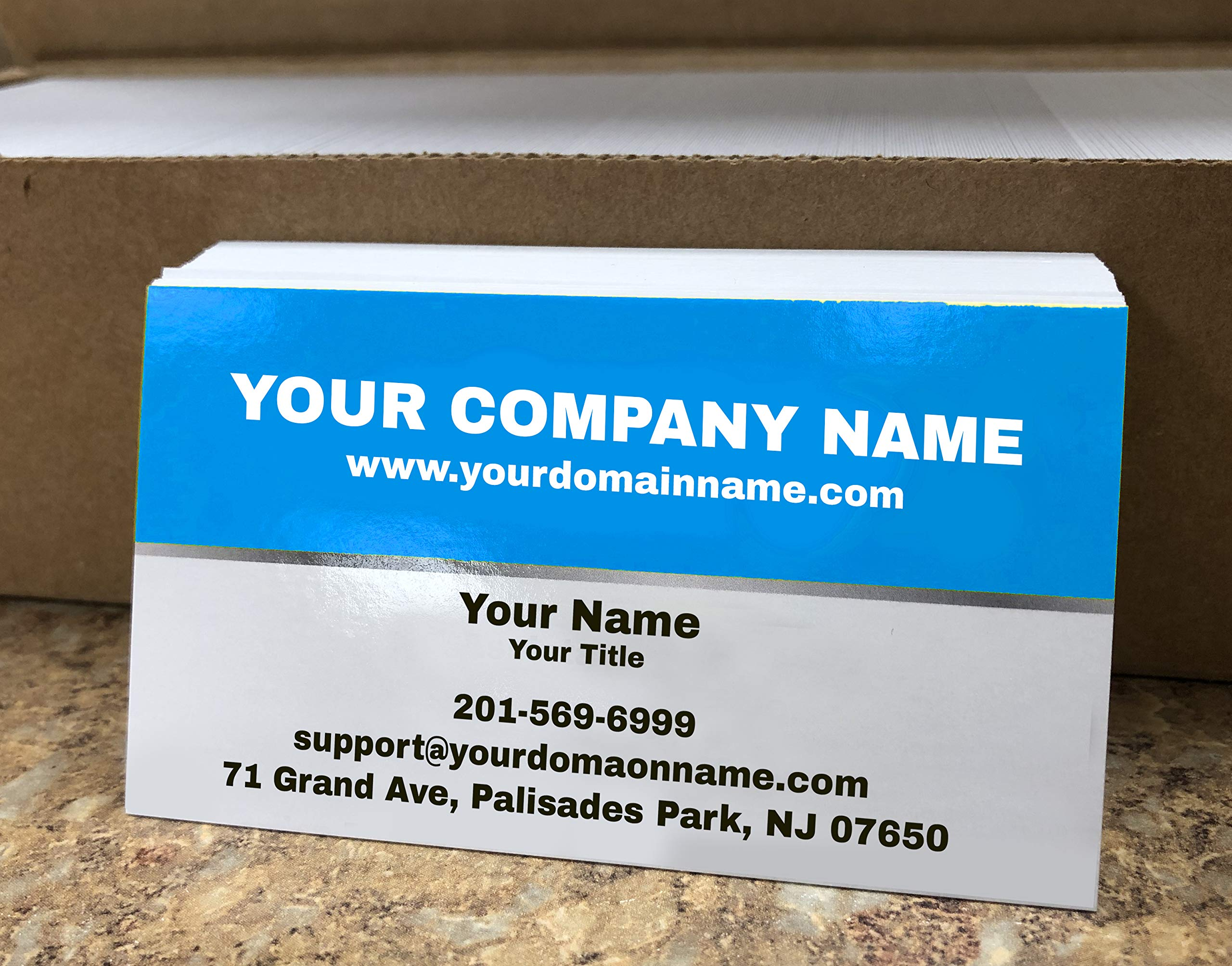 Custom Premium Business Cards 500 pcs Full color - Half Light Blue (129 lbs. 350gsm-Thick paper), UV coating-Front, Matte finishing-Back, Offset Printing, Made in The USA (Light Blue)