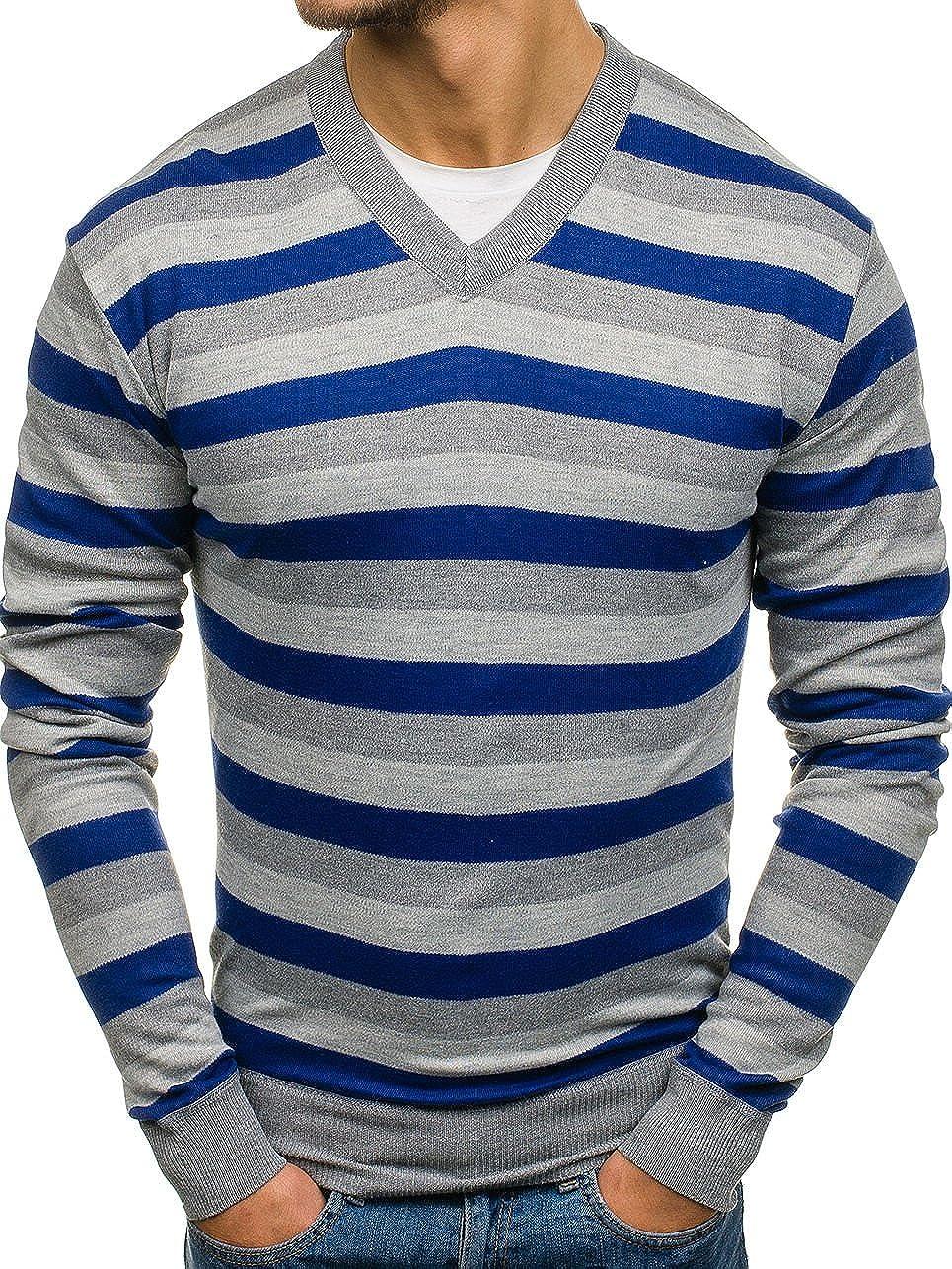 Herren Pullover Strickjacke Strickpullover Sweater Men Rundhals BOLF 5E5 Motiv