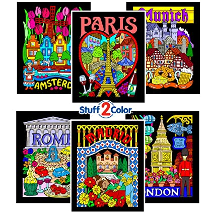 Stuff2Color Fuzzy Velvet Coloring Pages - Paris, Rome, Madrid, Amsterdam,  London, and Munich