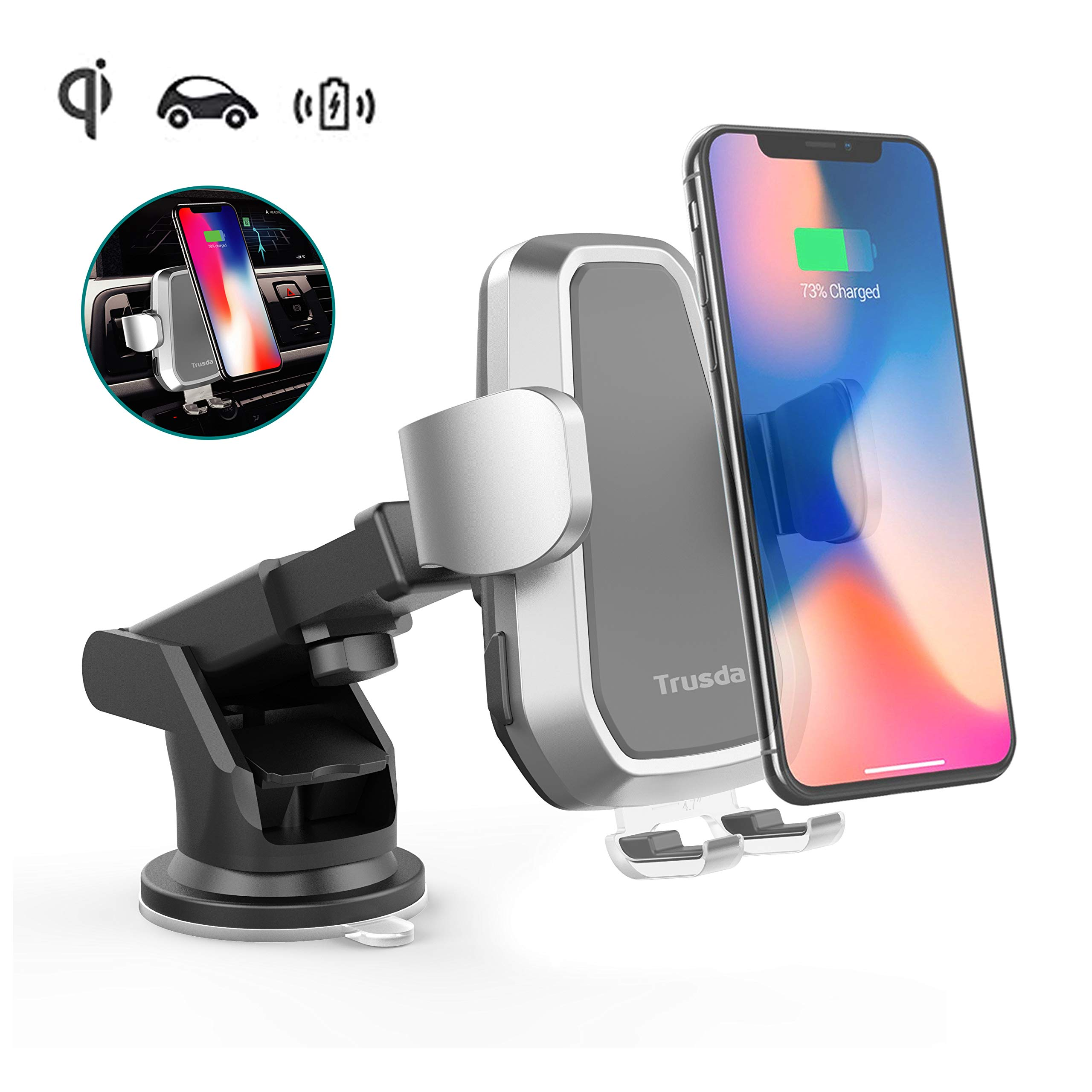 Qi Wireless Fast Charger Car Mount Automatic, Air Vent Phone Holder for iPhone Xs MAX/XR/XS/X/8/8 Plus Samsung Galaxy S9/8/7/Note 8/9 and All Qi-Enabled Phones by Trusda