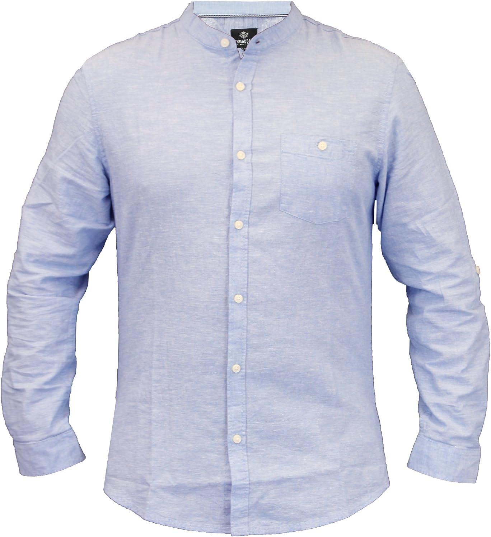 CABALLEROS lino Camisa Deshilachado Cuello MAO MANGA LARGA Trabajo Informal Verano NUEVO - Azul Claro - kmv071pkb, Small: Amazon.es: Ropa y accesorios