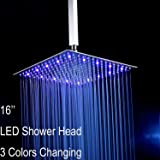 """Fyeer 16"""" LED Rainfall Shower Head Square, Ultra-thin Luxury Bathroom Showerhead Ceiling Mounted, 3-LAYER Brushed Nickel 304 Stainless Steel, Temperature Sensor 3 Colors Chaning"""