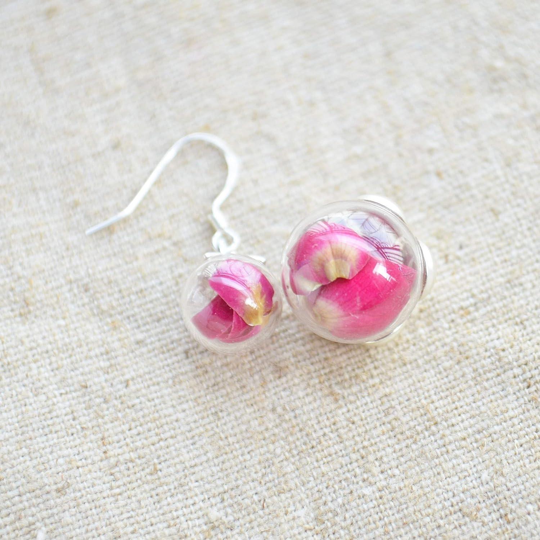 Rouge Rose R/éelles Fleurs Verre Boule 925 Sterling Argent Ensembles de bijoux Collier Des boucles doreilles