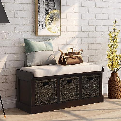 Harper Bright Designs Rustic Storage Ottoman Bench