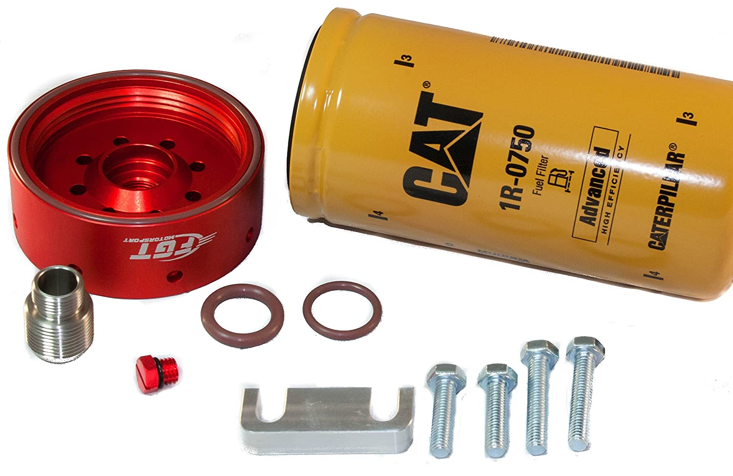 Cat Fuel Filter Adapter Conversion Kit For 2001 2016 1986 F250 Diesel Chevy Gmc Duramax Includes Bonus Billet Bleeder By Fgt Motorsport Automotive