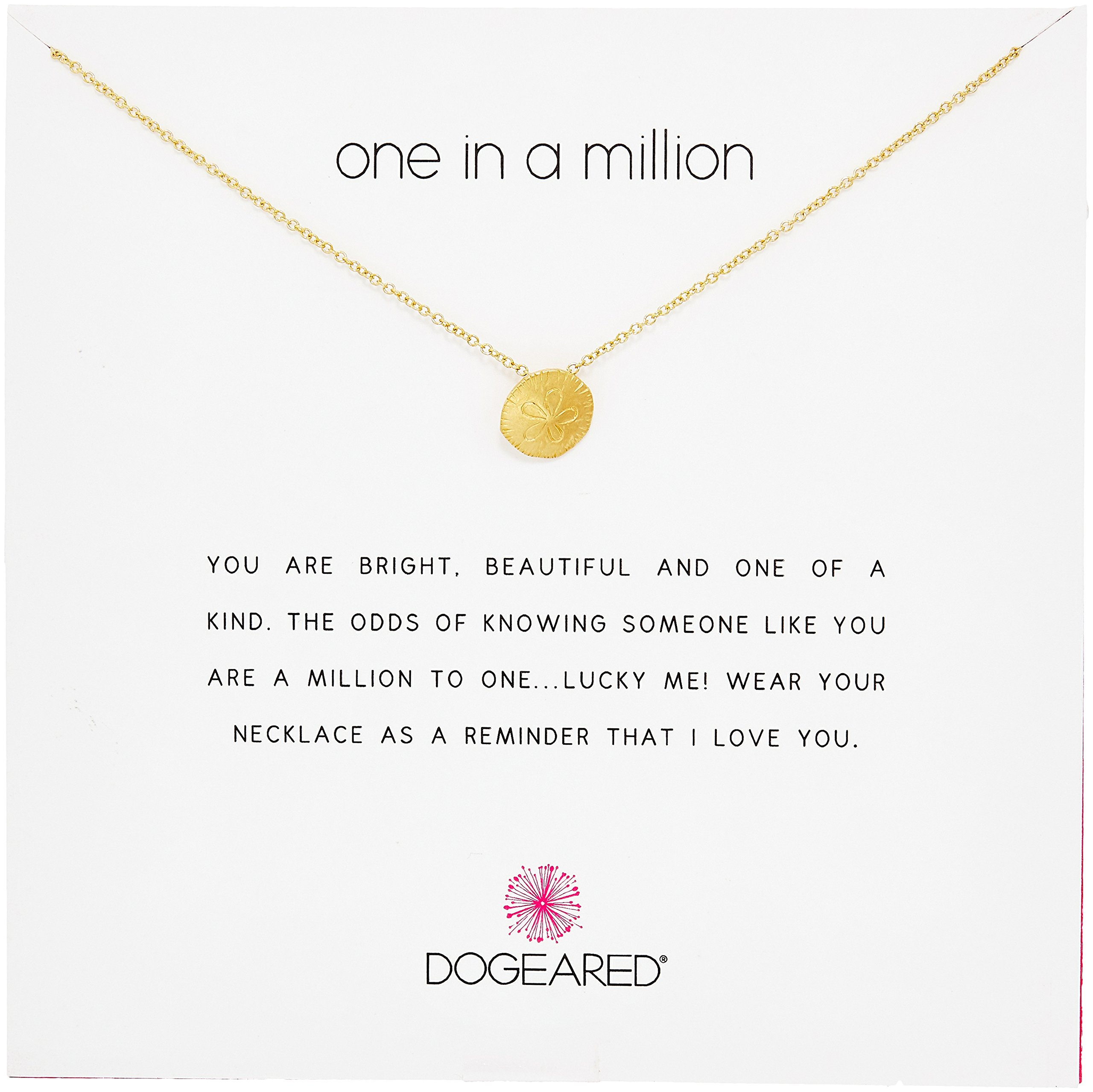 Dogeared Reminders- One in a Million Gold Dipped Sand Dollar Charm Necklace, 16'' +2'' Extender
