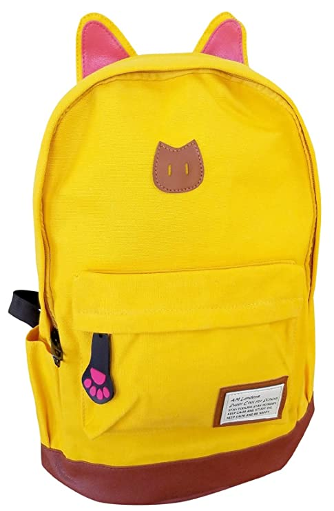 409ce93476a Amazon.com   AM Landen CAT Ears Backpack Kid Backpack Travel DayBag(small-Yellow  with Laptop Sleeve)   Kids  Backpacks