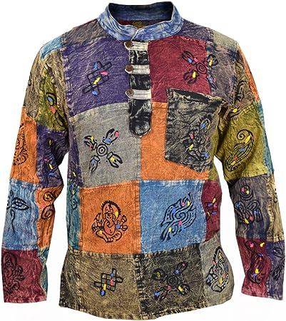 Abuelo Manga Larga Camisas con un bolsillo en el pecho, un bolsillo lateral y 3cierre de botones en