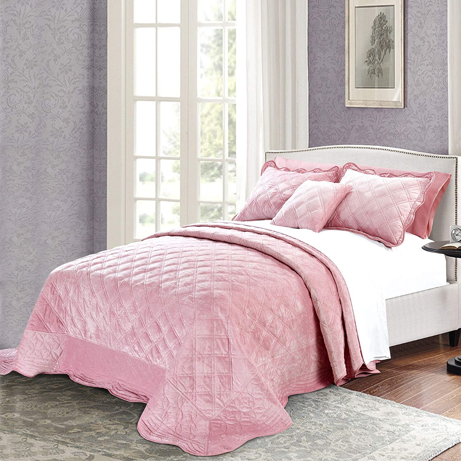 Serenta Super Soft Microplush Quilted 4 Piece Bedspread Set Queen Pink Home Kitchen