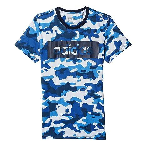 Adidas Lin tee Camo - Camiseta para Hombre, Color Azul, Talla S