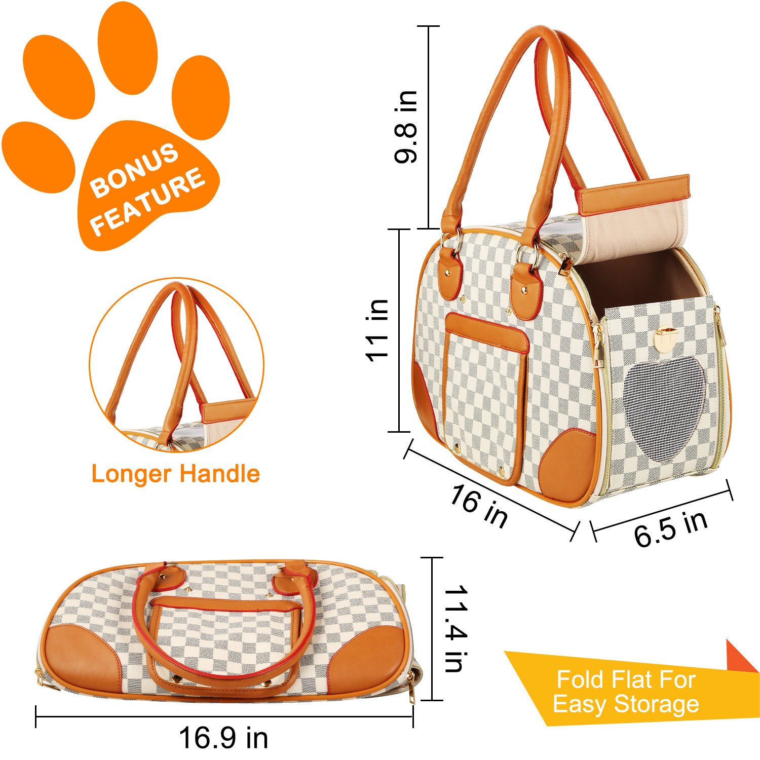 wot i Soft Sided Pet Carrier, Cat Carrier Dog Carrier Airline Approved Pet Carrier Suitable for Small Dogs and Cats, Medium Cats and Dogs, Puppy, Kittens, Small Animals, Luxury PU Leather Travel Bag by wot i (Image #3)