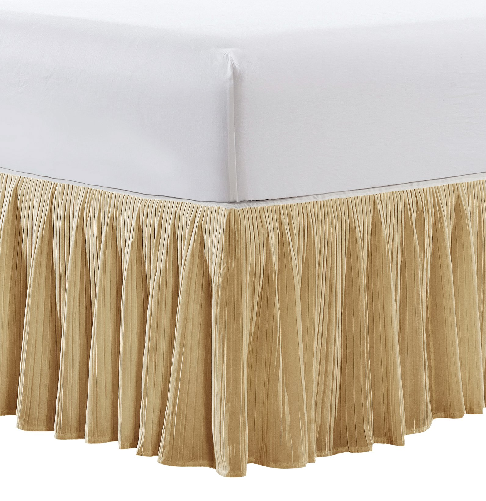 Home Soft Things Serenta Microfiber Pleated Bedskirt 18'' Drop in Length, Queen, Marzipan