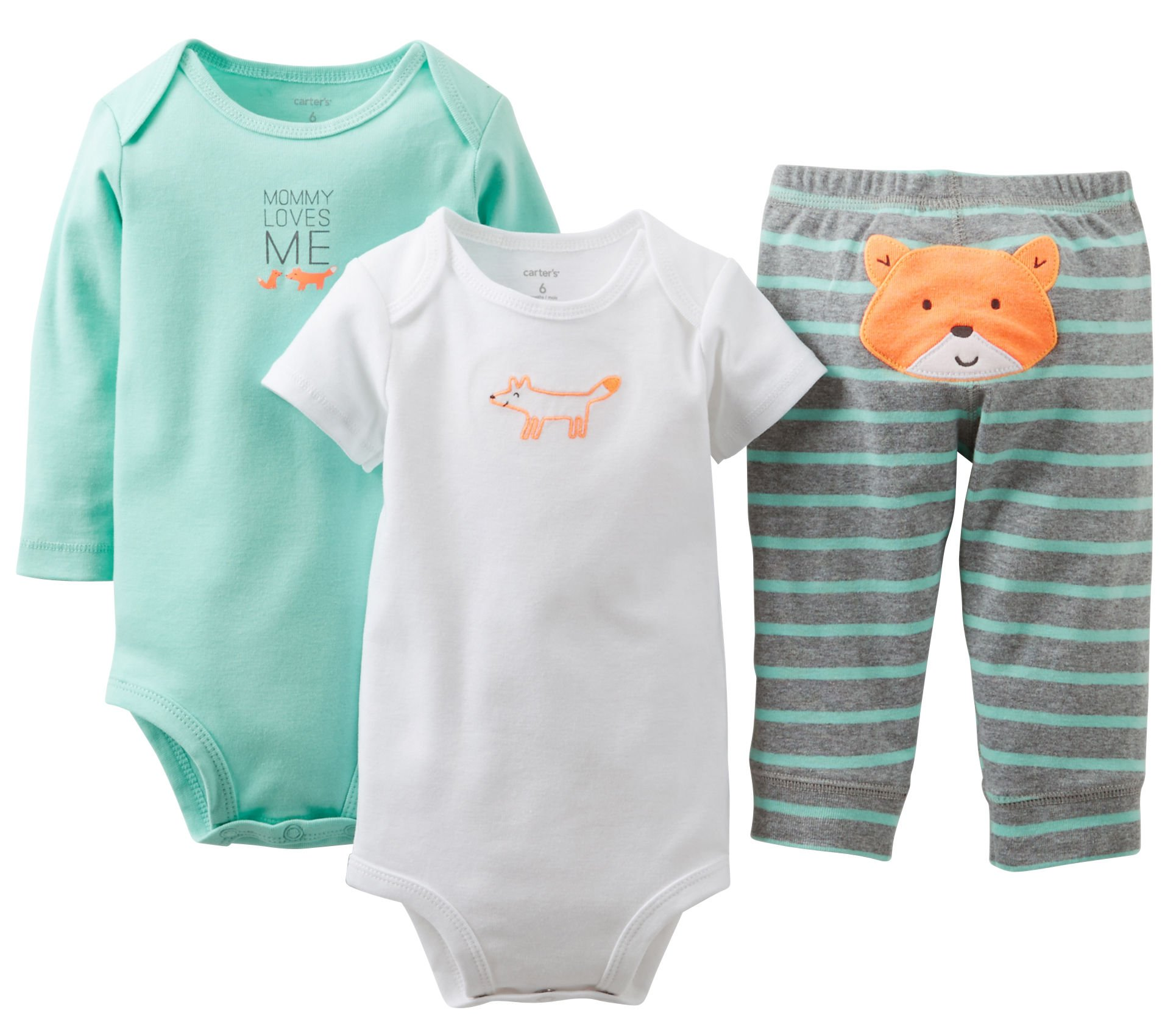 Carter's Baby Boys' 3 Piece ''Take me Away'' Set (Baby) - Mommy Loves Me - Mint - 6 Months by Carter's (Image #1)
