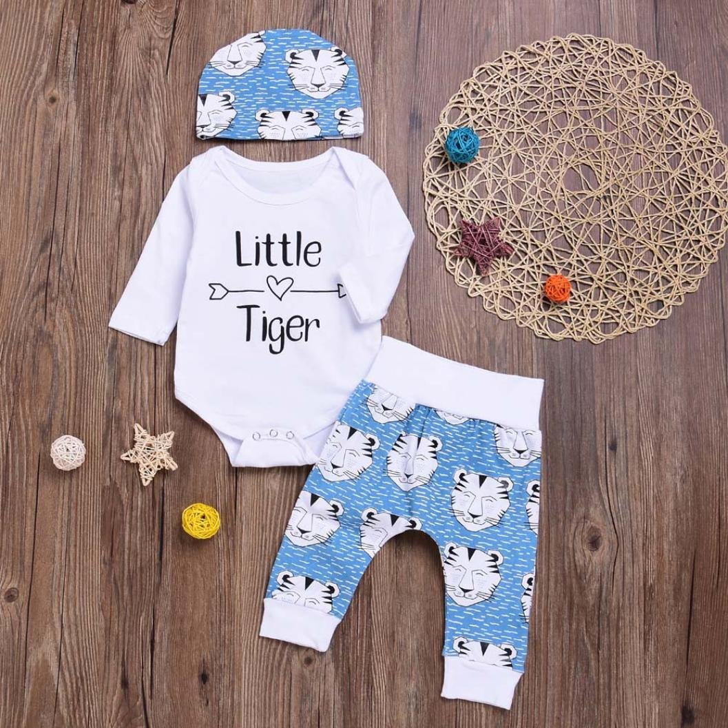 For 0-18 Months Baby,DIGOOD Christmas Toddler Baby Girls Boys Letter Romper+Cartoon Tiger Pants+Hat 3Pcs Fresh Outfits