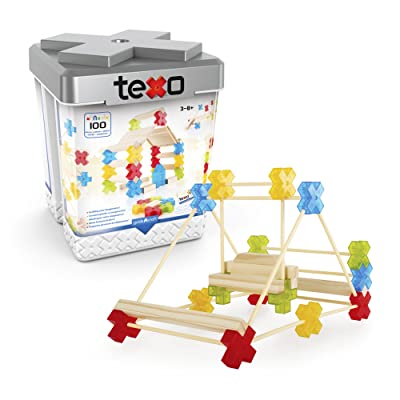Guidecraft Texo 100 Piece Set - 3D Geometric Designs Educational Interlocking Shapes- Architectural Building-Bricks STEM Toys for Kids: Toys & Games