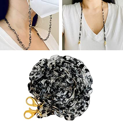 Turtle Shell Style w Gold Accent Chain Face Mask Fashion NecklaceLanyard Nickel Free