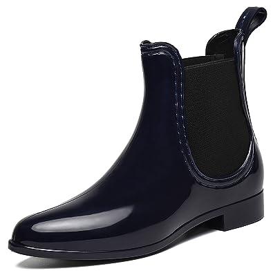 b6eb66d830e5cb SAGUARO® Damen Kurzschaft Stiefel Gummistiefel Gummistiefeletten  Regenstiefel Chelsea Boots