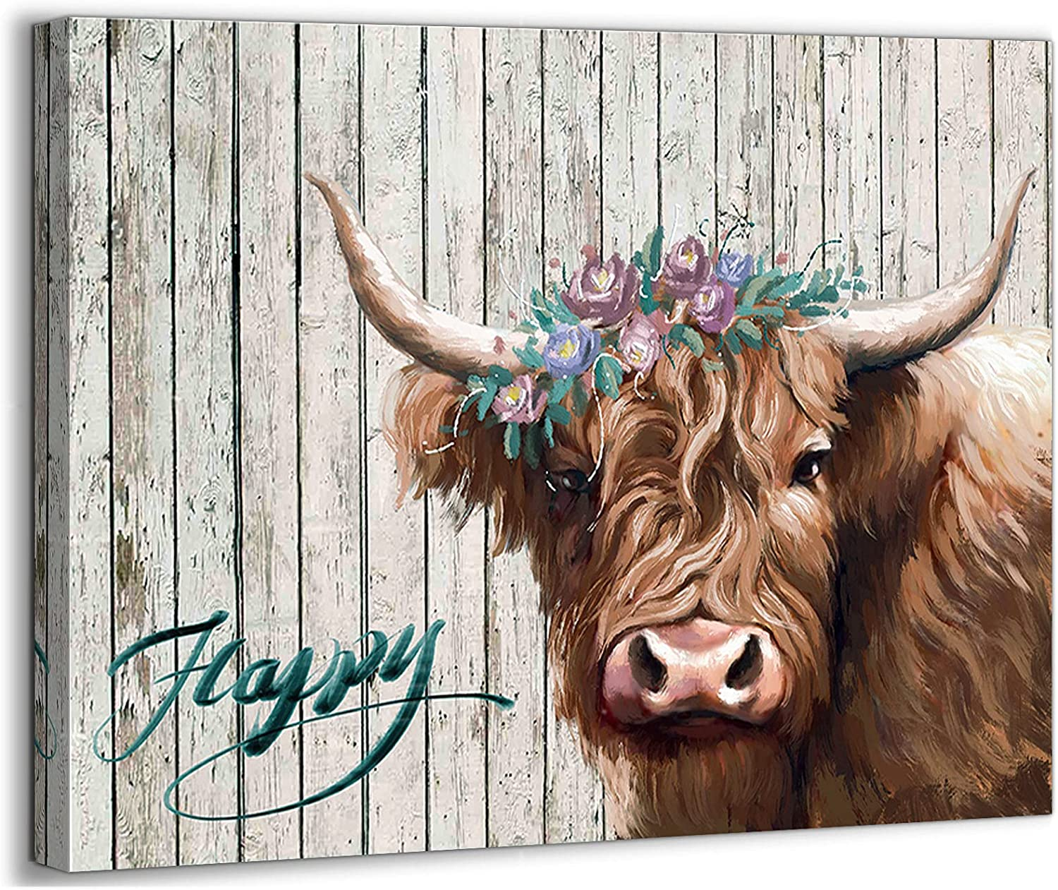 Country Canvas Wall Art for Bedroom Rustic Cow Theme Wall Decor Bathroom Pictures Wall Decor Modern Framed Artwork Decor for Farmhouse Kitchen Dining Room Wall Art Home Wall Decoration Size 12x16
