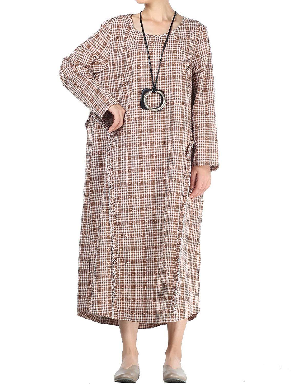 ZHRUI Vestidos de Lino de algodón para Mujer Vestido de ...