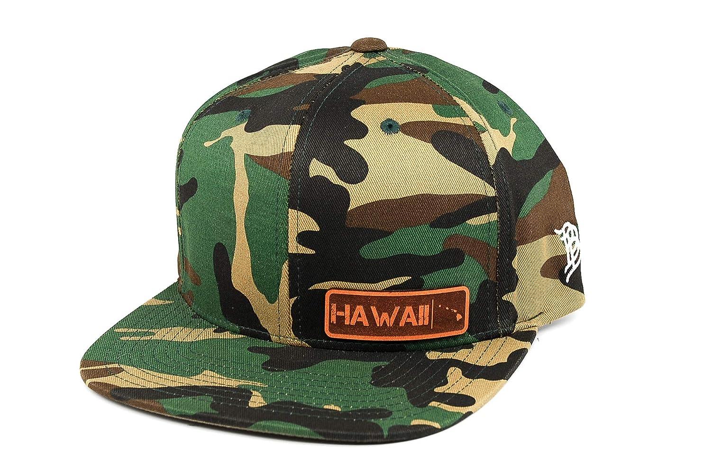 OSFA//Camo Branded Bills /'Hawaii Native Leather Patch Snapback Hat