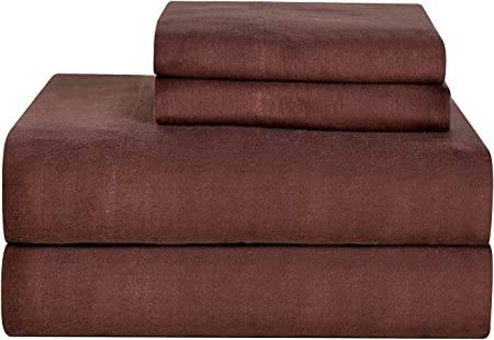 Amazon Com Celeste Home Ultra Soft Flannel Sheet Set With Pillowcase Twin Coffee Bean Home Kitchen