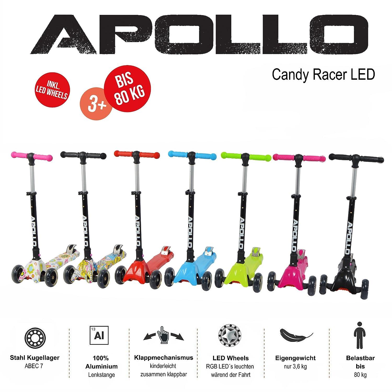Apollo Scooter - Candy Racer LED - Big Wheel Scooter niños a Partir de 3 años, Kickboard-Scooter Plegable, Patinete de Carga máxima hasta 80kg con ...