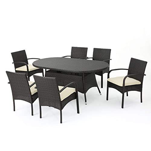 Christopher Knight Home Carmela Patio Furniture Outdoor 7pc Multibrown PE Wicker Long Dining Set