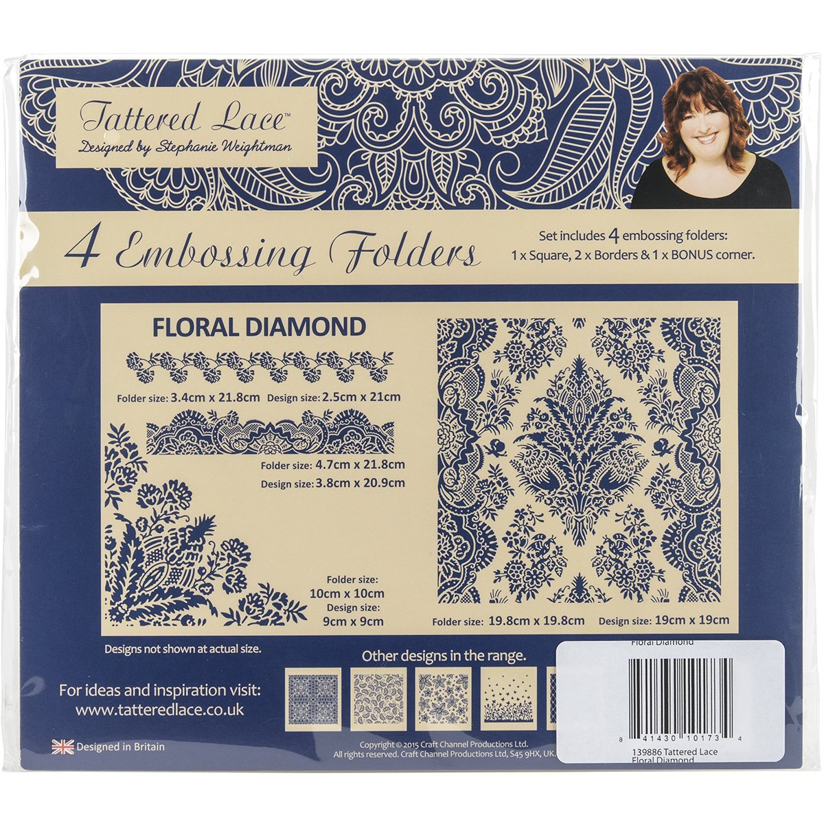 Create and Craft Floral Diamond Tattered Lace Embossing Folders by Create and Craft