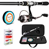 PLUSINNO Telescopic Fishing Rod and Reel Combos FULL Kit, Spinning Fishing Gear Organizer Pole Sets with Line Lures Hooks Reel and Fishing Carrier Bag Case Accessories