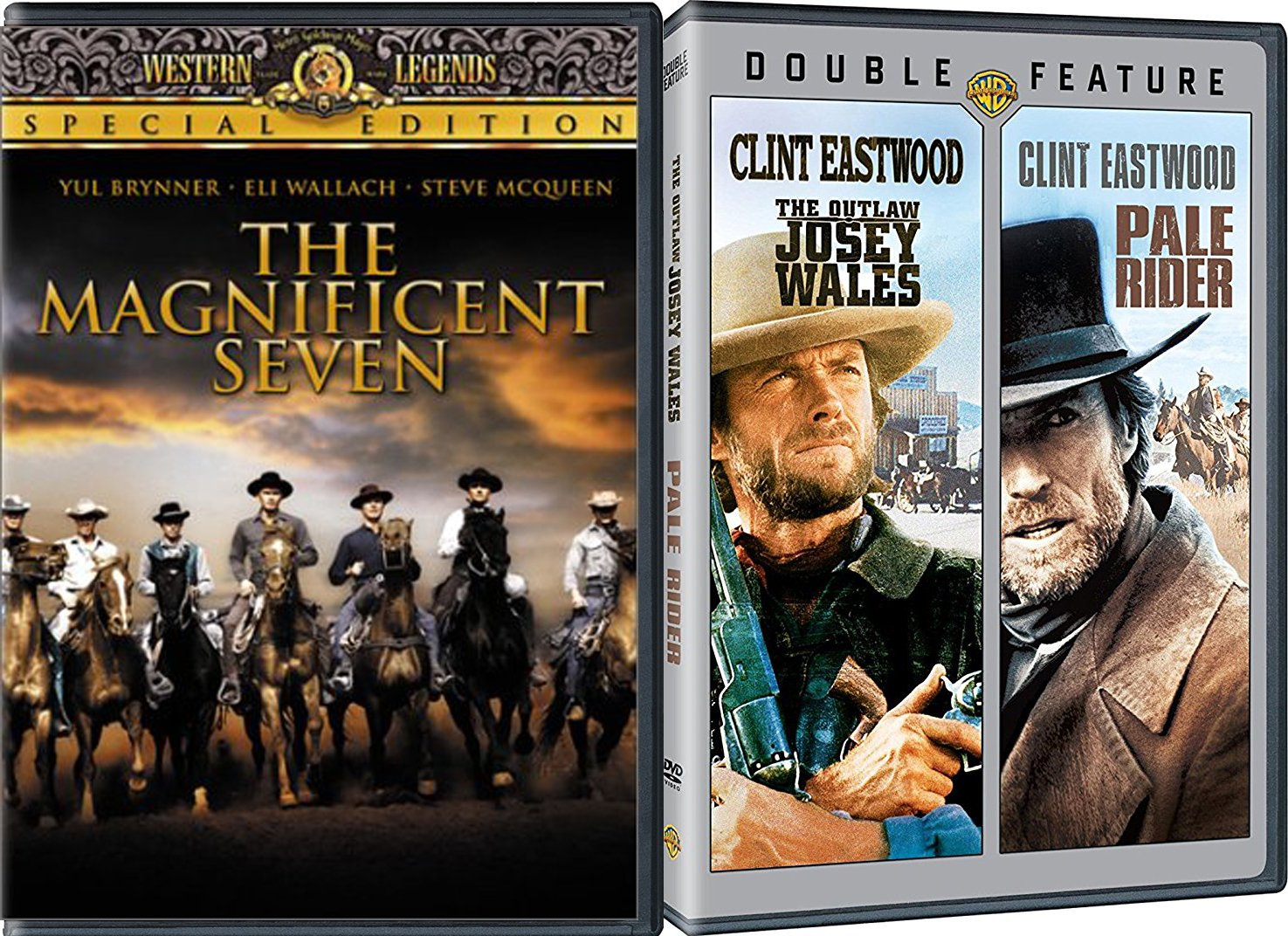The Magnificent Seven + The Outlaw Josey Wales, Pale Rider Clint ...