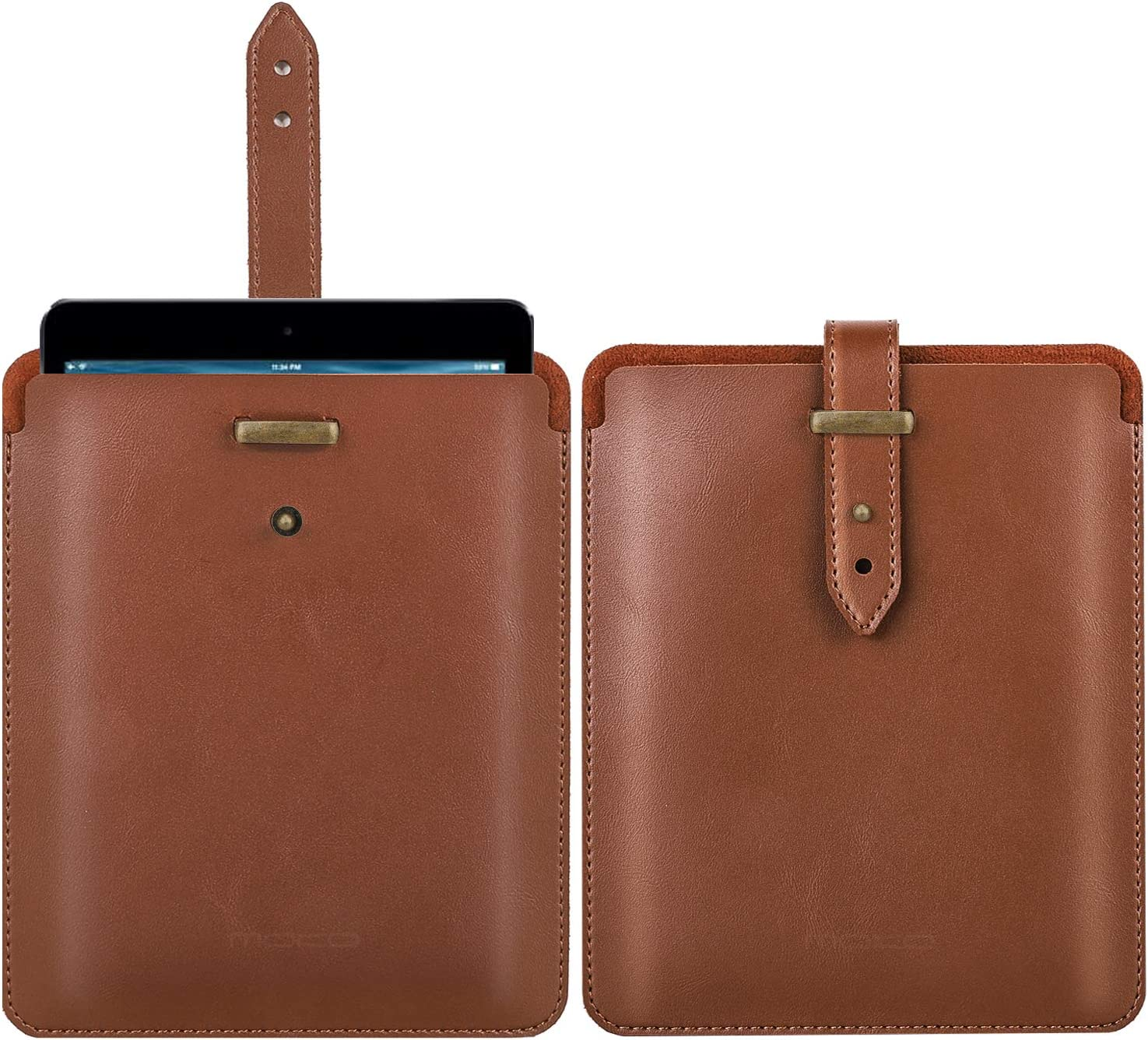 MoKo 9.7 Inch Sleeve Case Compatible with iPad 9.7 6th / 5th Generation (2018/2017), iPad Air/Air 2, iPad Pro 9.7, PU Leather Protective Lightweight Portable Pouch Cover Bag - Brown