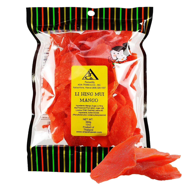 Asia Trans Li Hing Mui Dried Mango   Hawaiian Favorite   Naturally Sweet Dried Fruit Candy with Asian Plum Powder