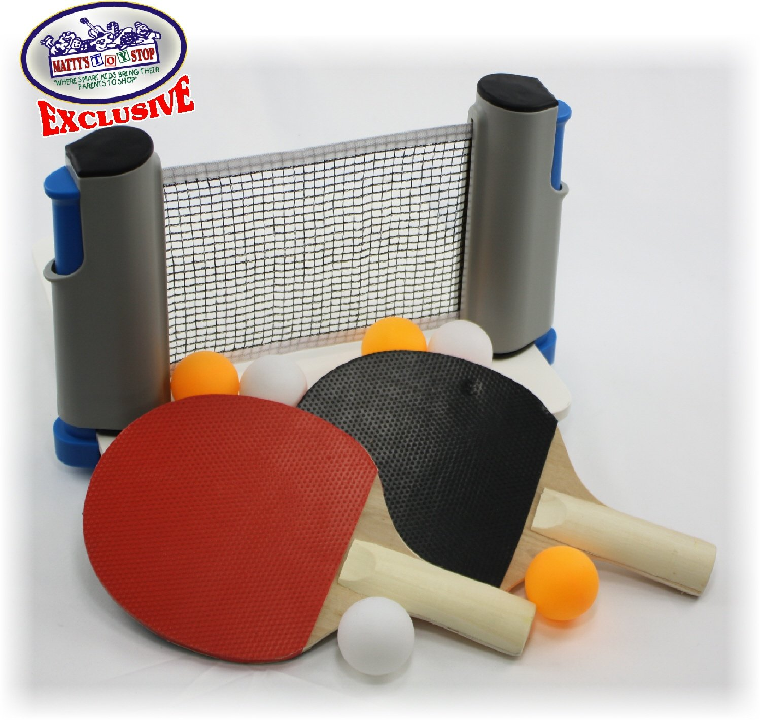 Matty's Toy Stop Deluxe Table Tennis (Ping Pong) To Go with Fully Adjustable Net, 2 Paddles, 6 Balls (3 Orange & 3 White) & Mesh Storage Bag by Matty's Toy Stop (Image #2)