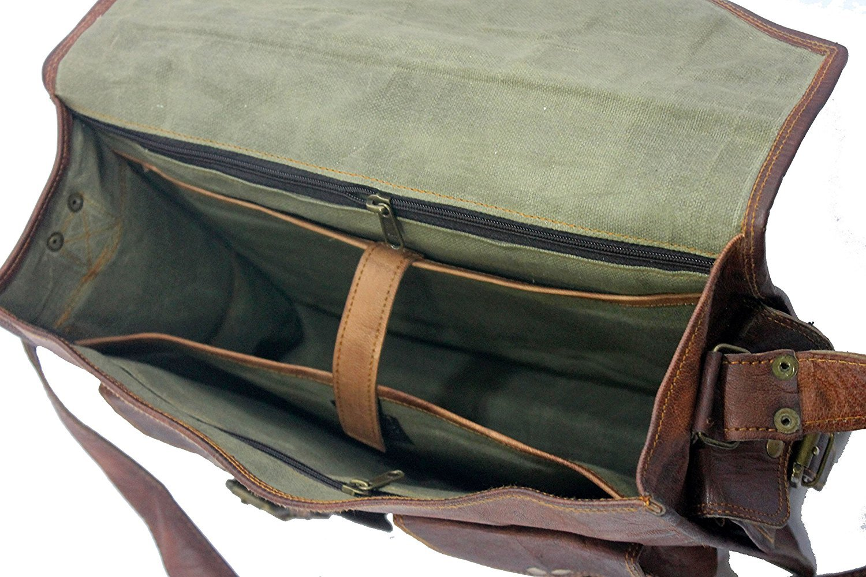 Handmade World Genuine Messenger Bag Leather Laptop Bags Computer Satchel Briefcase (18 Inch) by Handmade World (Image #7)