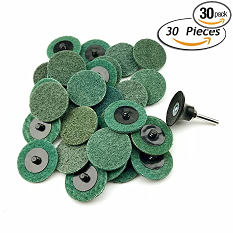 2 Inch Fine Grit Roloc R-Type Sanding Discs Nylon Non Woven Fabric  Quick-Change Surface Conditioning Disc, 30pcs of Fine Grit Disc+ 1/4