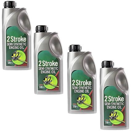 Spares2go - Aceite semisintético de motor de 2 tiempos (1 litro, para cortacésped de