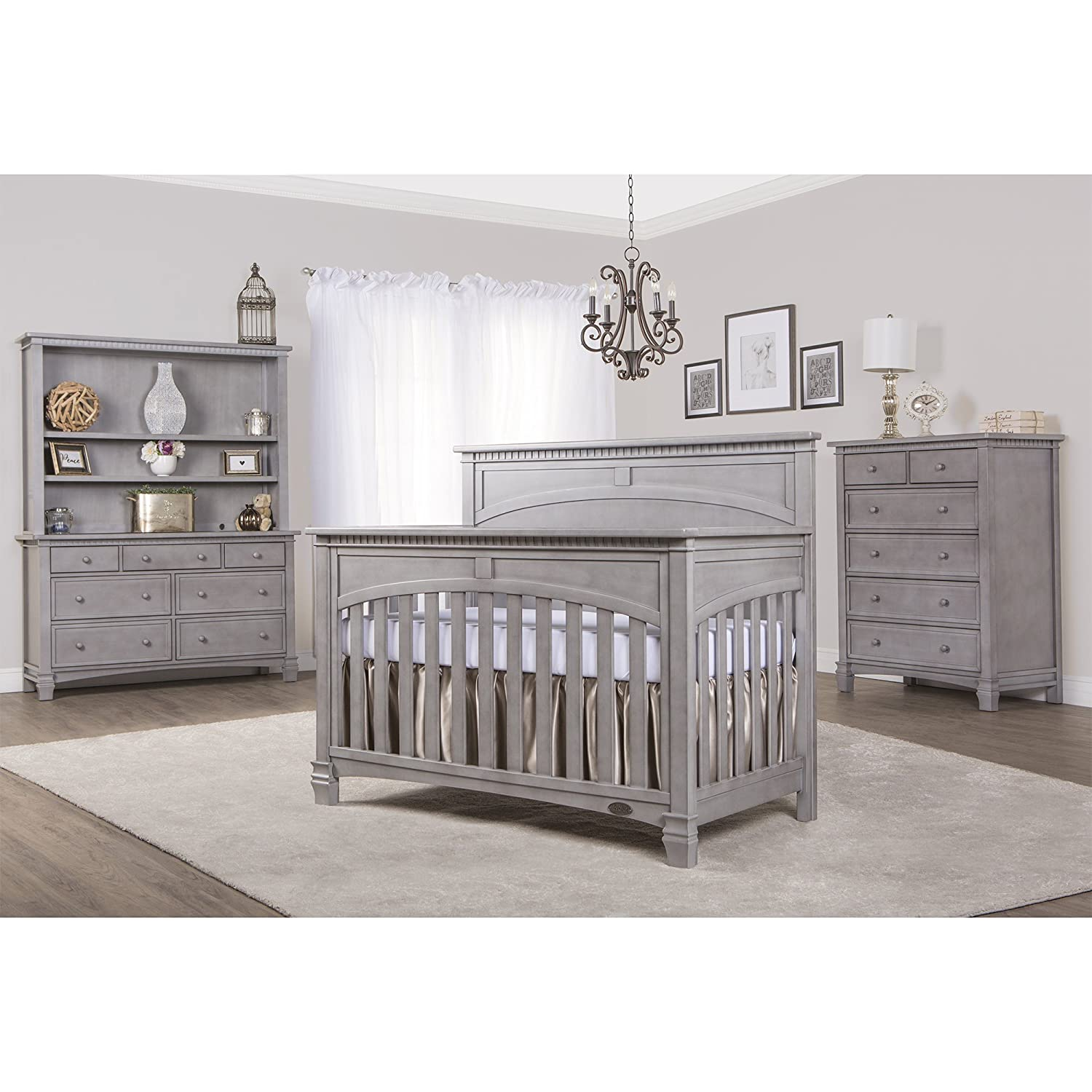 Amazon.com : Evolur Santa Fe 5 In 1 Convertible Crib, Storm Grey : Baby