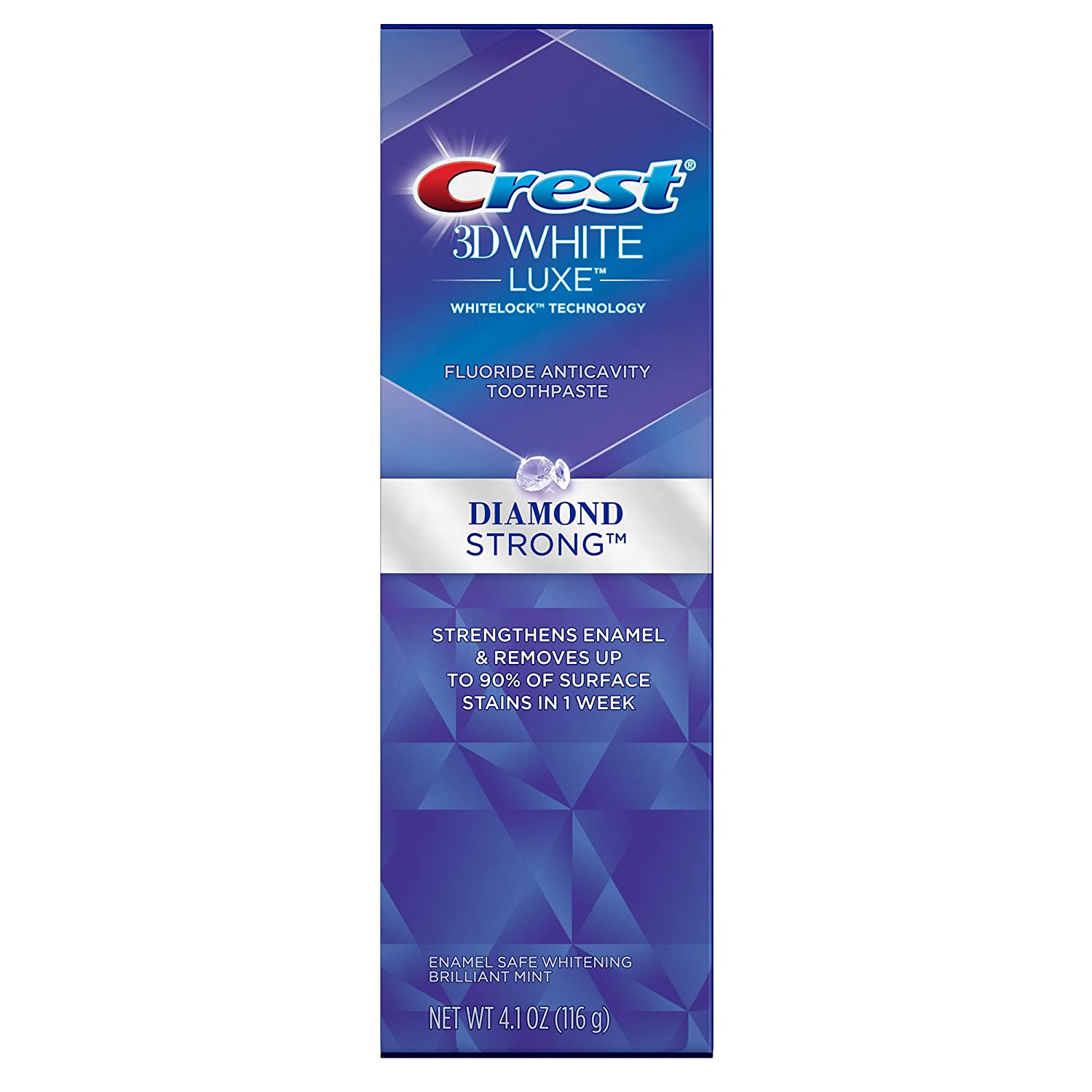 Crest 3D White Luxe Diamond Strong Brilliant Mint Flavor Whitening Toothpaste 4.1 Oz