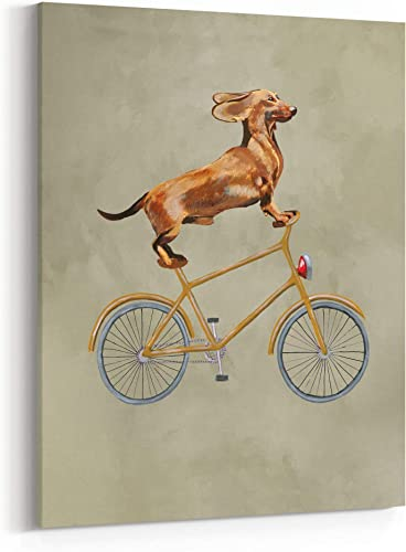 Dachshund Dog On Bicycle Painting 24″ x 36″ Canvas Wall Art