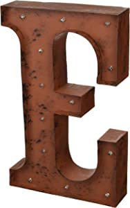 The Gerson Company E LED Lighted Metal Letter with Rustic Brown Finish