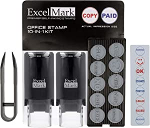 ExcelMark A-17 DIY Self-Inking Rubber Office Stamp Kit - Red and Blue Ink