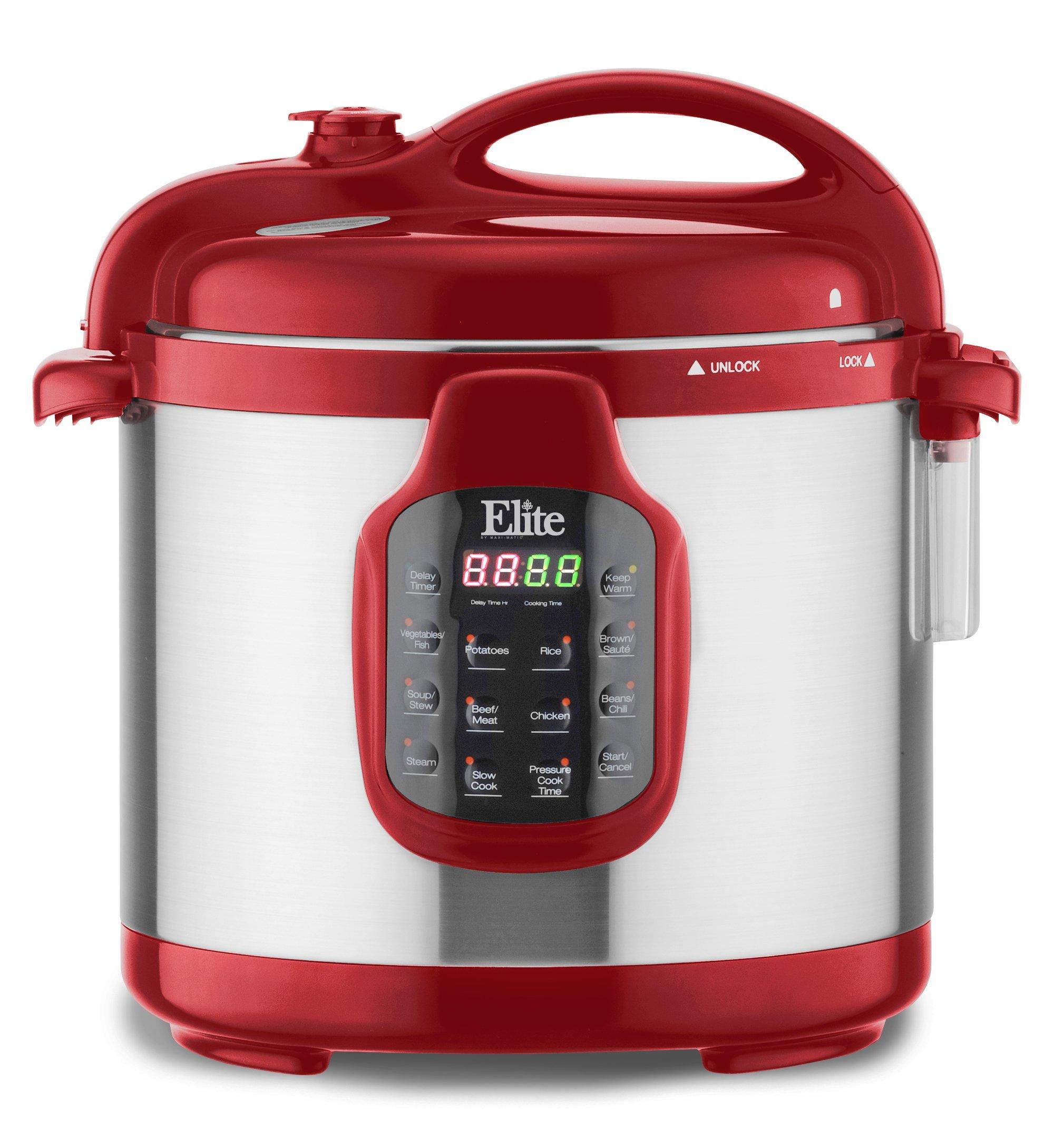 Elite Platinum EPC-678BR Elite Platinum 6Qt Round Digital Pressure Cooker with Glass Lid, Brick Red