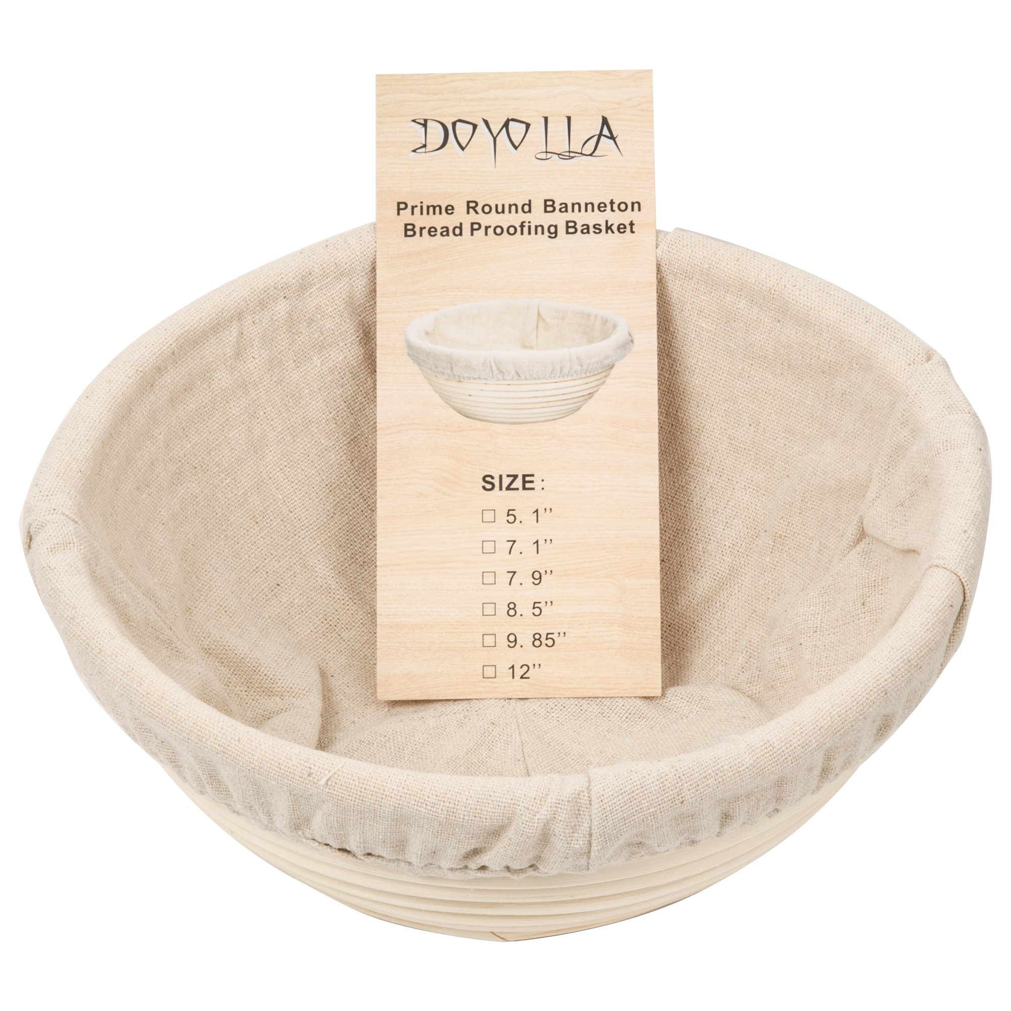 DOYOLLA 1pcs 8.5'' Round Banneton Brotform Bread Dough Proofing Rising Rattan Basket & Liner