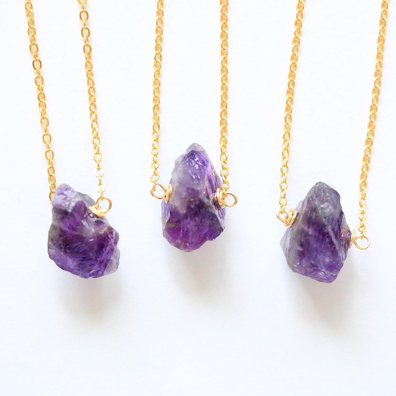 Amethyst choker, Tiny raw crystal choker necklace