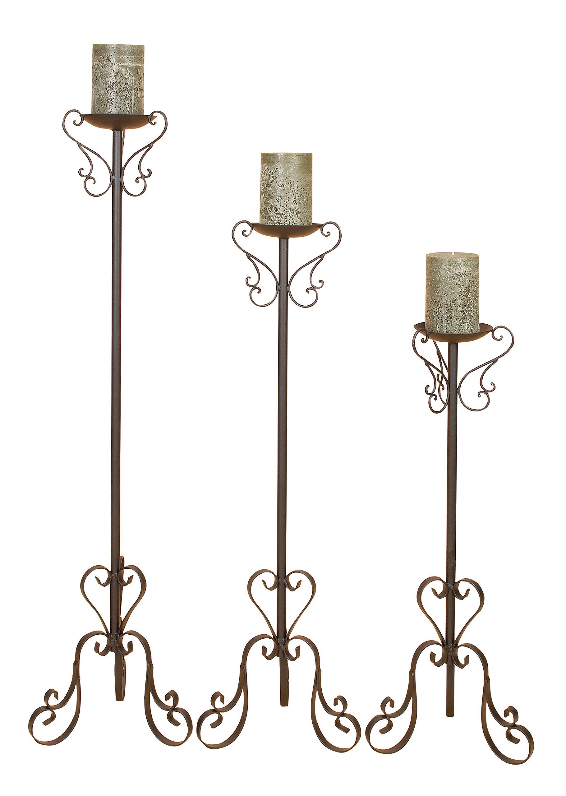 Deco 79 Tall Candle Holder Set, Black